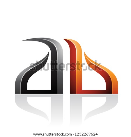 Orange and Black Bow-like Embossed Letter A Vector Illustration Stock photo © cidepix