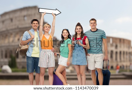 friends with travel bags and arrow over coliseum Stock photo © dolgachov