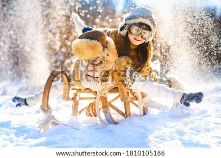 Reiten Schnee Winter Kindheit Freizeit Stock foto © dolgachov