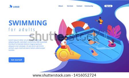Swimming and lifesaving classes concept landing page. Stock photo © RAStudio