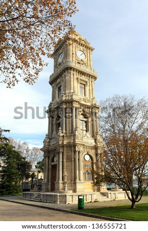 Clocktower at Dolmabahce Palace in Istanbul, Turkey Stock photo © boggy