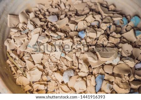 a lot of antique and dirty crockery of archeological interest Stock photo © galitskaya