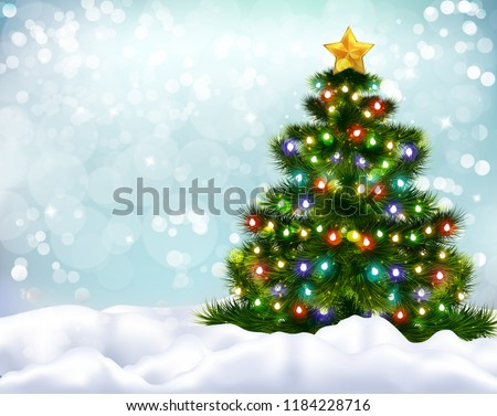 Vector Snowy Christmas Tree Stock photo © dashadima