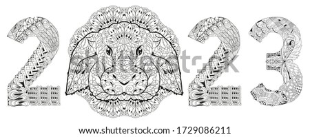 Zentangle stylized rabbit number 2023. Hand Drawn lace vector illustration Stock photo © Natalia_1947
