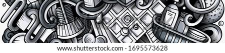 Bathroom hand drawn doodle banner. Cartoon detailed flyer. Stock photo © balabolka