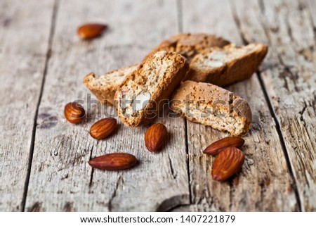Almond seeds and fresh Italian cookies cantuccini stacked on whi Stock photo © marylooo