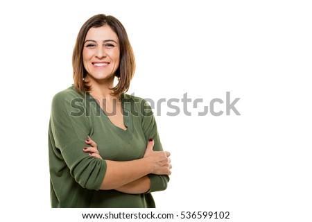Sonriendo caucásico mujer los brazos cruzados aislado blanco Foto stock © Qingwa