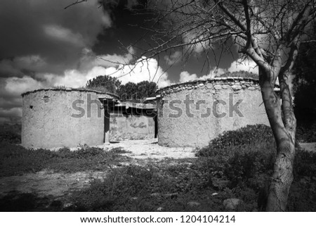 Reconstruction of houses of the Chalcolithic Period Stock photo © Snapshot