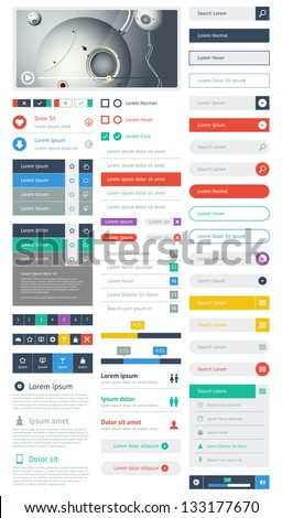 ui flat design web elements and layouts with infographics stock photo © davidarts
