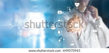 hemşire · doktor · ayakta · koridor · gülen · kadın - stok fotoğraf © sumners