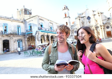 Tourist couple in old city square Stock photo © IS2
