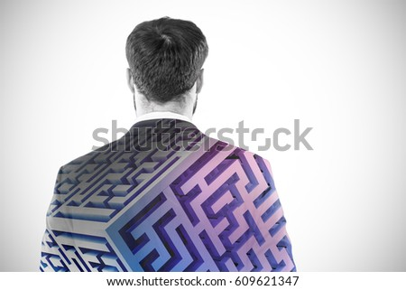 Businessman pretending to standing against invisible screen Stock photo © wavebreak_media