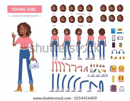Stockfoto: Afrikaanse · meisje · karakter · illustratie · vrouw · gezicht