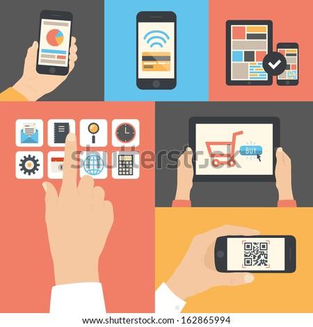 Línea aplicación mano teléfono icono vector Foto stock © vector1st