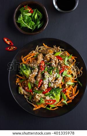 ázsiai tészta hús zöldségek szójabab étel Stock fotó © furmanphoto