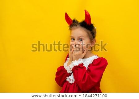 Mały diabeł żółty szczęśliwy halloween cute Zdjęcia stock © choreograph