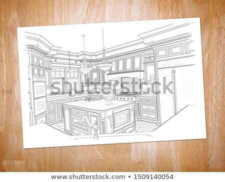Vám konyha rajz papír pihen fa Stock fotó © feverpitch