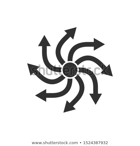 8 arrows rotation in circle with center point. Stock vector illustration isolated on white backgroun Stock photo © kyryloff