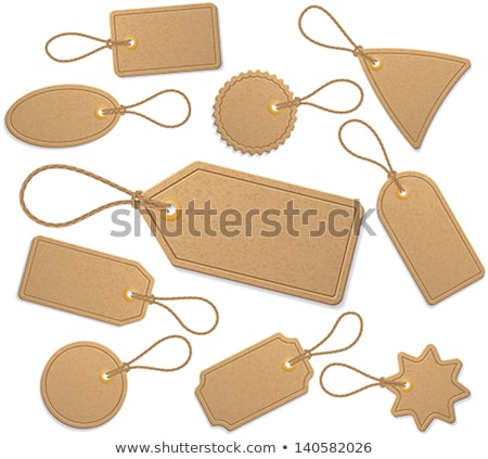 Label Tag Blank Cardboard With Rope Color Vector Stock photo © pikepicture