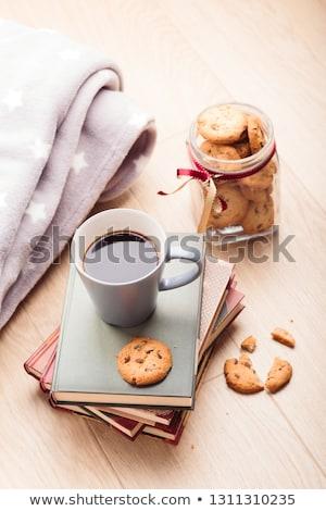Az kitaplar fincan kahve kurabiye Stok fotoğraf © przemekklos