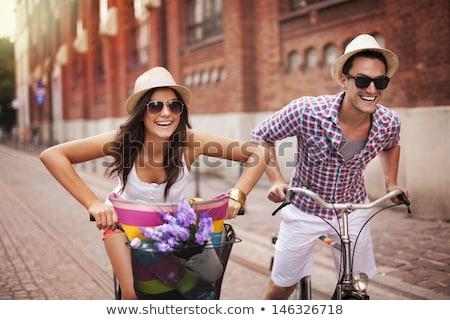 молодые · семьи · стране · велосипедов · лет · весело - Сток-фото © dolgachov