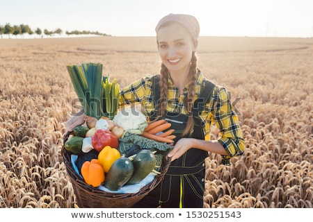 harvest time in the country woman farmer offering vegetables stock photo © kzenon