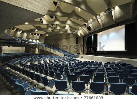 Pusty niebieski krzesła kina teatr sala konferencyjna Zdjęcia stock © galitskaya