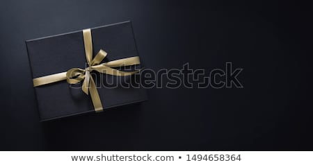 Luxe noir coffrets cadeaux bleu ruban Photo stock © Illia