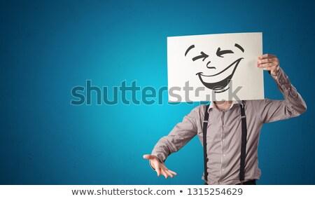 Person halten Papier cool Emoticon Gesicht Stock foto © ra2studio