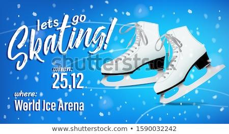 катание плакат пару белый классический льда Сток-фото © MarySan