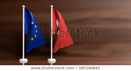 Flags of Turkey and the European Union with copy space Stock photo © Zerbor