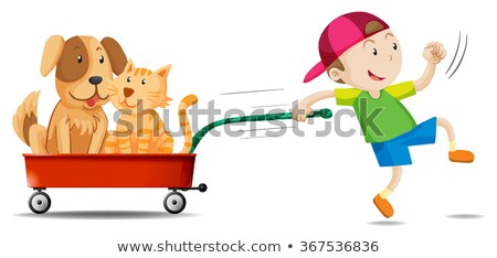 Boy pulling wagon cart on white background Stock photo © bluering