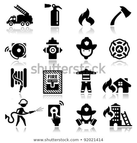 Gebäude Flamme Heizung Ausrüstung Vektor Symbol Stock foto © pikepicture