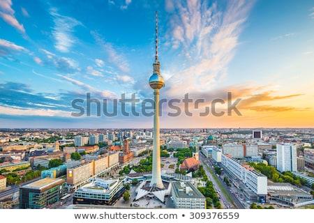 центра Берлин известный телевидение башни ночь Сток-фото © elxeneize