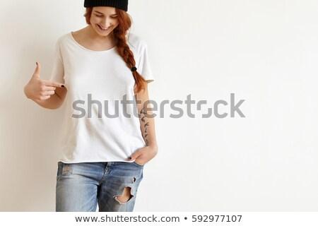изображение красивой счастливым женщина улыбается указывая пальца Сток-фото © deandrobot