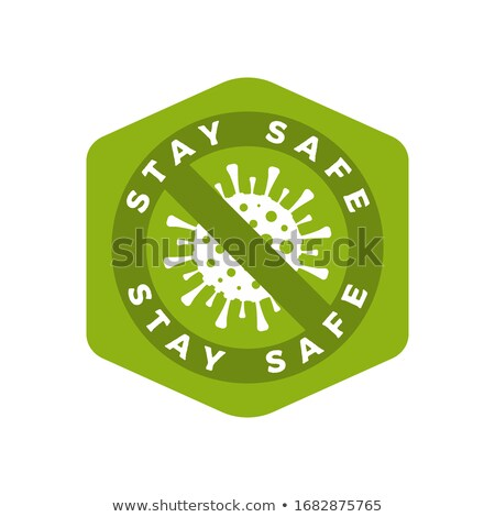 Coronavirus caution green badge. Covid-2019 safety advice label - Stay safety. Stock vector Stock photo © JeksonGraphics