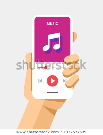 Hand holds the smartphone with music player application. Flat vector modern phone mock-up illustrati Stock photo © karetniy