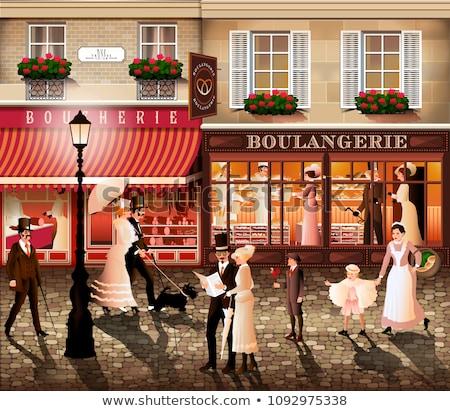 Parijzenaar architectuur historisch gebouwen restaurants winkel Stockfoto © Anneleven