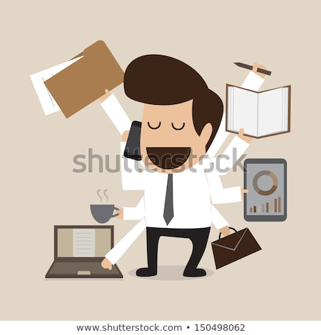 Multitasking Workload Of Happy Busy Man Stock photo © AndreyPopov