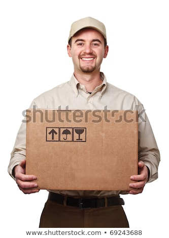 The young male courier with box isolated on white  Stock photo © Elnur