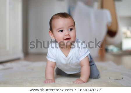 Mixed Race Baby Toddler Boy on White Stock photo © tobkatrina