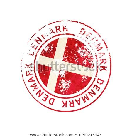 Dánia felirat klasszikus grunge lenyomat zászló Stock fotó © evgeny89