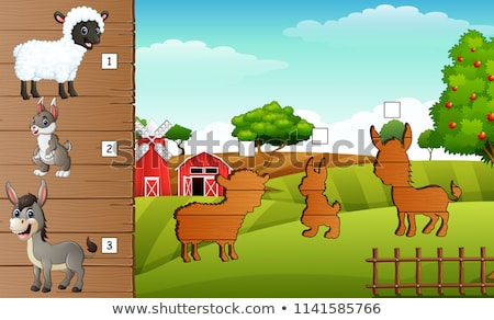 Cartoon Puzzle Game for Preschool Children with Funny Donkey Farm Animal Stock photo © natali_brill