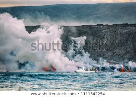 Stockfoto: Hawaii Volcano Eruption Boat Tour Tourists On Ocean Cruise Travel Activity Watching The Lava Reachi