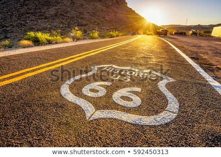 ルート66 メインストリート アメリカ 米国 道路 青 ストックフォト © mdfiles