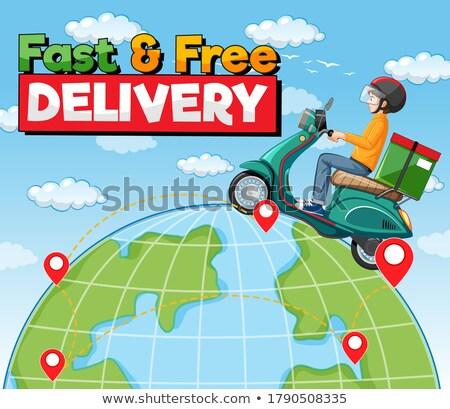 Dünya çapında ücretsiz gönderim logo bisiklet adam kurye Stok fotoğraf © bluering