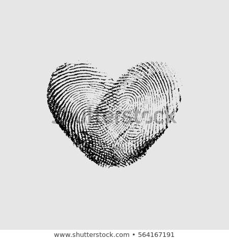 piros · ujjlenyomat · szív · vektor · dizájn · elem · esküvői · meghívó - stock fotó © experimental