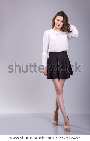 женщины белая блузка серый юбка изолированный белый Сток-фото © zybr78