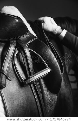 zadel · stabiel · vrouw · jonge · alleen - stockfoto © phbcz