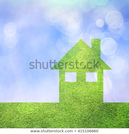 Stockfoto: Groen · gras · blauwe · hemel · bokeh · vierkante · hemel · abstract